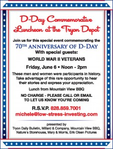 D Day Commerative Lunch at the Tryon Depot
