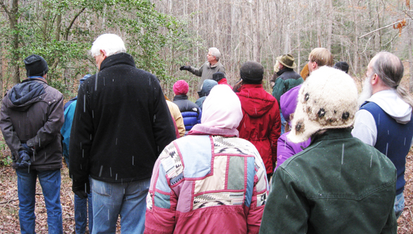 """Shannon Buckley teaches """"Identifying Trees in the Winter,"""" in the snow, at Walnut Creek Preserve on Saturday, Feb. 16. (photo submitted)"""