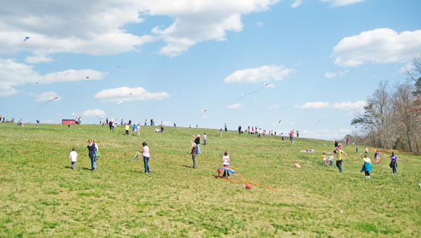 Families gathered on Hawks Ridge Hill in 2012 for FENCE's annual Go Fly a Kite Day. (photo submitted)