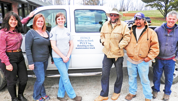 The staff of FENCE shows off their new truck. Staff members from left to right are FENCE Executive Director Carrie Knox, nature education coordinator Tracie Hanson, nature education assistant Kristy Burja, and maintenance workers Joey Thompson, Roy Flores, Bill Pound. (photo submitted)