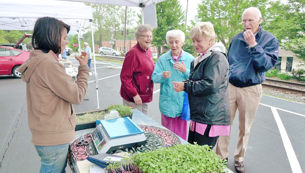 Paige Paris gives Tryon residents samples of microgreens she grows for sale at area farmer's markets. The Tryon Market is open on Thursday afternoons from 4 - 6:30 p.m. Farmers and craftspeople bring items that include everything from produce to jams to dog treats. (photo by David Widdicombe)