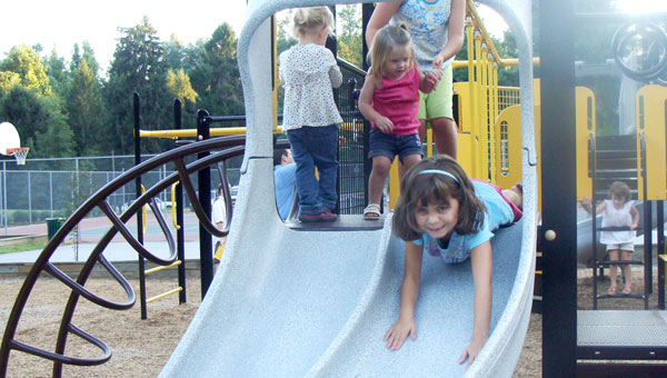 Students play on plarground equipment at Saluda Elementary School. (photo submitted)
