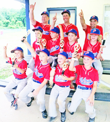 """These kids recently won the Division One 7/8-year-olds tournament. Teammates pictured are: top row, left to right: Merlin Troyer, Robert Carter and Joey Whiteside. Middle: Brandon Troyer, Elliott Whiteside, Mark Frantz and Cole Pereira; bottom row, left to right: Lawson Carter, Bryson Jones, Gunner Alm and Auston """"Buster"""" Ledford. Not Pictured: Cooper Snyder, Carson Metcalf and Larry """"Neon"""" Traber. (photos submitted by Olivia Whiteside)"""