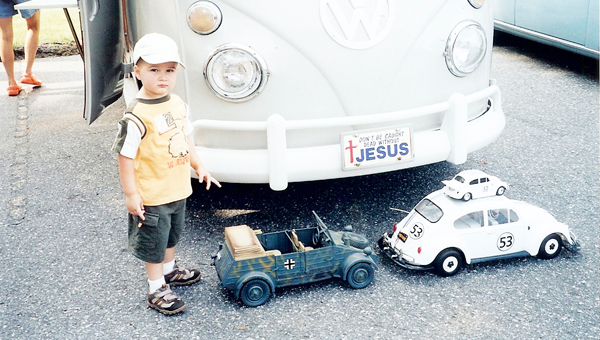Two-year-old Jacob Pittman enjoyed the antique car show at the eighth-annual Green Creek Heritage Festival on Sept. 9, 2006. Pittman will be 9 years old this year. (photo by Opal Sauve)
