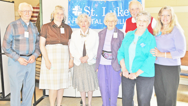 A sincere appreciation is extended to all volunteers who share their time and talents so willingly on behalf of St. Luke's Hospital. St. Luke's Hospital volunteers were recently honored at a special luncheon. The following volunteers have completed five years of service: Evelyn Bradley, Jay Burdue, Honor Calloway, Janet Cannon, Gayle Cook, Ed Daws, Jeane Helms, Chuck Huneycutt, Leo Tarpley, Lulu Walker, Peggy Wyllie. Pictured: Leo Tarpley, Lulu Walker, Jeane Helms, Evelyn Bradley, Janet Cannon, Chuck Huneycutt and Gayle Cook.