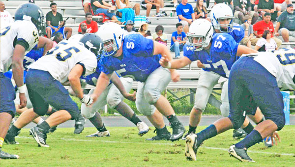 PCHS held its annual Wolverine Jamboree Monday, Aug. 12. Taking part in the preseason scrimmage were E. Rutherford, Chase, N. Henderson, W. Henderson and PCHS. Polk travels tonight to Gaffney for the Border Showcase. Below: Reece Schlabach looks for an open receiver. (photos by Virginia Walker)