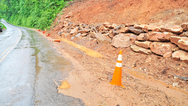 Green River Cove Road, between Silver Creek Road and Saluda, experienced a washout and eroded asphalt the week of July 4. Stones were put into place to reinforce the embankment and warning signs alerted motorists to the issues. The area received 1.67 inches and 2.87 inches of rain back to back on July 4 and July 5. Read the full story on page 3. (photo by Mark Schmerling)