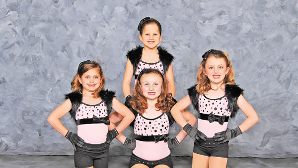 Dance Dynamics' mini team front row, left to right, Gracy Roberts, Ada Kelley and Preslee Quinn; back row, Bethany Smith. (photos submitted by Missy Fincher)