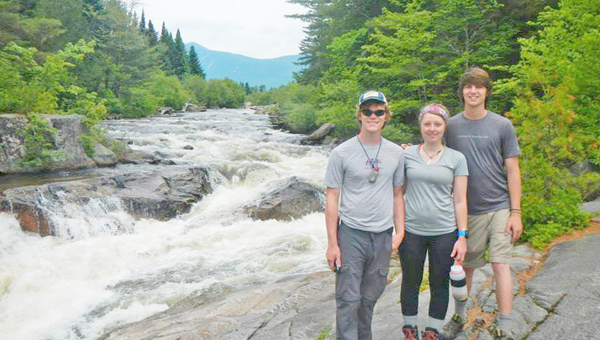Dylan Walker, Austin Knott and Danielle Phillips near the end of their journey. (photos submitted)