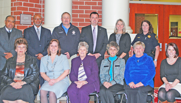 Front row: Donna Larch, Dawn Ryan, Polly Burns,  Ann Fowler, Sharon Downey, Carrie Thomas; Back Row: James McKinney, Thomas Miller, Scottie Gosnell, District One Schools Superintendent Ron Garner, Rhonda Jackson and Margaret Greer. (Not available at time of photo: Shirley Morris-H.B. Swofford Career Center) (photo submitted by Paula Brooks)
