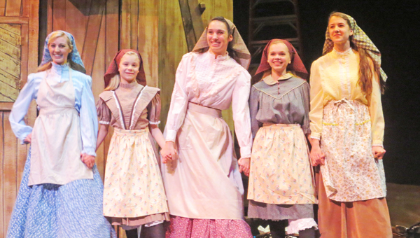 "Miriam Jackson, Emma Hay, Kate Riedy, Bethany Ghent and Emily Kocher, the sisters in Tryon Little Theater's production of ""Fiddler on the Roof."""