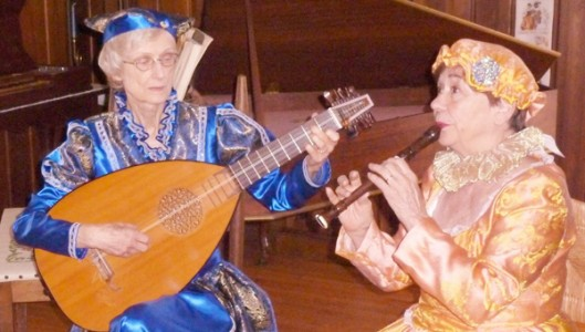 Jeanette Comer with lute and Helen Beverly with soprano recorder (photo submitted by Jen Pace)