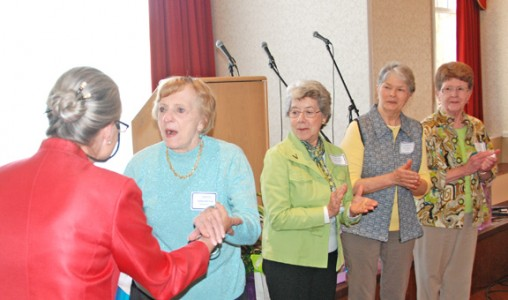 Carol Newton, Kathleen Foerster, and other SWHF members Liz McKeller, Pat Grimwood, and Dorcas Epley.