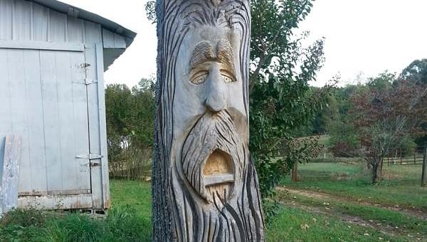 Cole Lumbus, a carved tree trunk by local artist Chris Carroll could soon be placed at Stearns Park as a tourist attraction. A project by Discover Columbus, Cole will be dressed up for holidays and have his own Facebook page to encourage residents and visitors to upload pictures with him. (Photo submitted by Jimmi Buell)