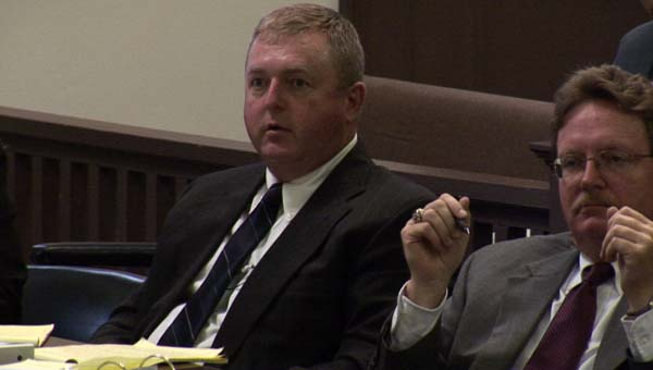 Travis McGraw sits during his 2014 trial of the 2011 murder of his wife Vanessa Mintz with defense attorney Tony Dalton. (Photo courtesy of CBS News)