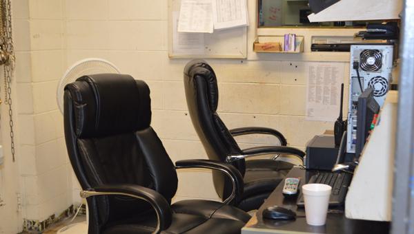 The jailer's cramped control room
