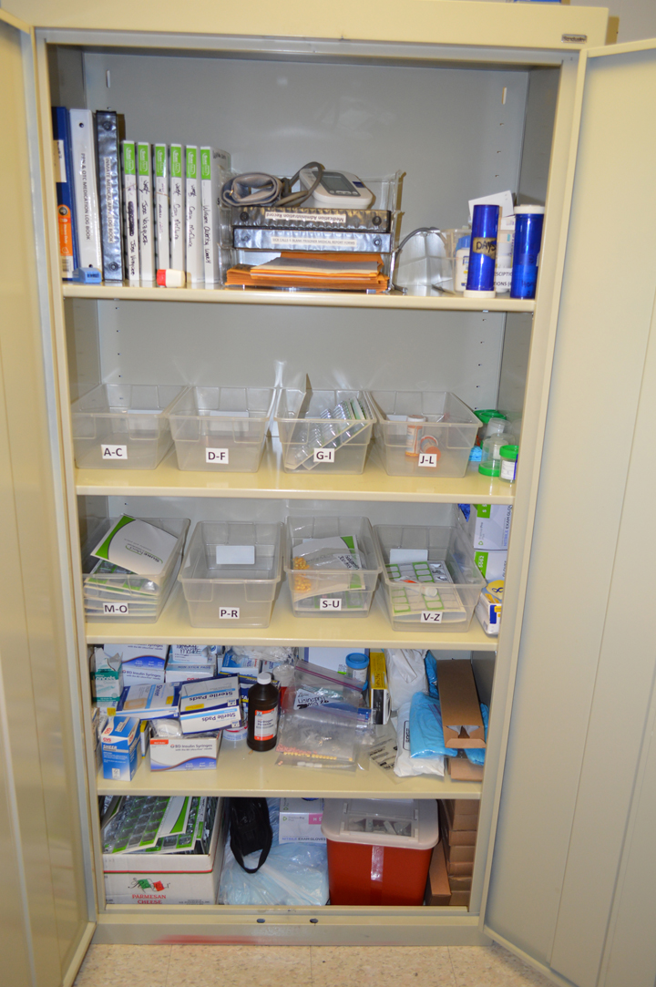 The jail's medicine cabinet is located in the jail administrator's office.