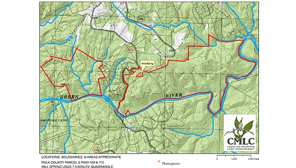 The Carolina Mountain Land Conservancy in Hendersonville and the Polk County Community Foundation have purchased a total of 586 acres on the Green River and are exploring ways to conserve the land for future generations. The CMLC bought 155 acres located upstream of South Wilson Hill Rd. in Mill Spring while the PCCF bought 431 acres downstream of South Wilson Hill Road. The land was once considered for a residential subdivision but these plans went under during the 2008 recession. (submitted by Kieran Roe)